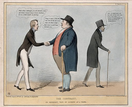 John Bull shakes the hand of Lord Morpeth in friendly admonition, but with his back to Lord Howick. Coloured lithograph by HB (John Doyle), 1841. At the general election in July 1841 both Lords Morpeth and Howick lost their seats for the West Riding of Yorkshire and Northumberland respectively. Morpeth took his defeat well but Howick was sour and ungracious. Created 19 August 1841. Contributors: John Doyle (1797–1868). Work ID: h7wchuqt.