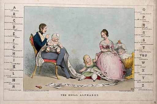 Prince Albert and Queen Victoria instructing their children in the alphabet; a political alphabet frames the image. Coloured lithograph by HB (John Doyle), 1843. Created 3 July 1843. Contributors: John Doyle (1797–1868). Work ID: qn3ykss7.