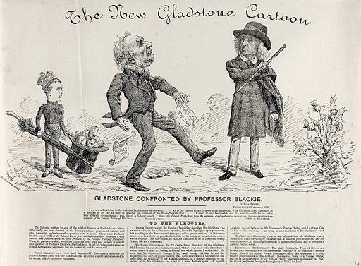 Gladstone is being confronted by Professor Blackie regarding his foreign policy; Lord Rosebery wearing a crown and holding an umbrella in the background. Engraving, 1880. Created 1880. Work ID: ddn6aqx9.