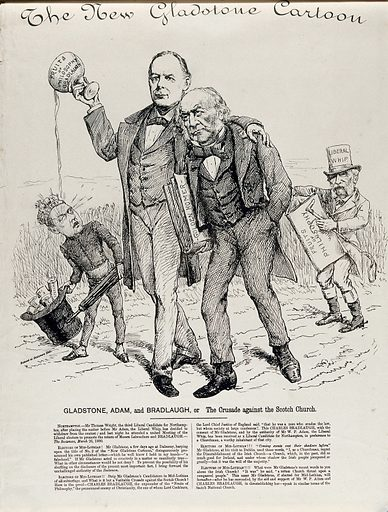 """William Gladstone with Charles Bradlaugh who is splilling the content of a cup on which is written """"fruits of philosophy Bradlaugh"""" on to Rosebery's face. Engraving, ca 1880. Created 1880?. Work ID: nbbhnwaa."""