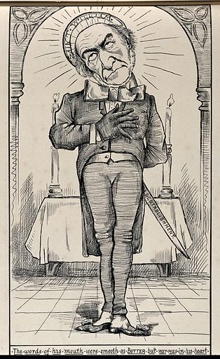 William Gladstone in a church, a halo around his head, holding a sword behind his back. Engraving, ca 1880. Work ID: eany2yfe.