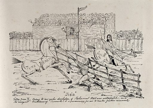 """A show jumping competition: Gladstone's horse """"Tynecastle"""" refuses to jump an obstacle. Engraving, ca 1880. Created 1880?. Work ID: e92txx6m."""