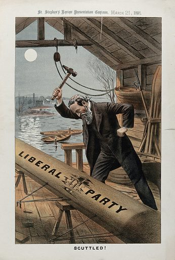 """A man is destroying a boat on which is written """"Liberal Party"""" with a hammer inscribed with """"manifesto"""". Lithograph, 21 March 1891. Created 21 March 1891. Work ID: dd53uugt."""