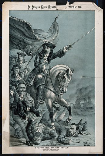 A man in 17th century dress on horseback, is leading an army and stamping on two men with his horse. Lithograph by Tom Merry, 6 March 1886. Created 6 March 1886. Contributors: Tom Merry (1852–1902). Work ID: ryrkv9bh.