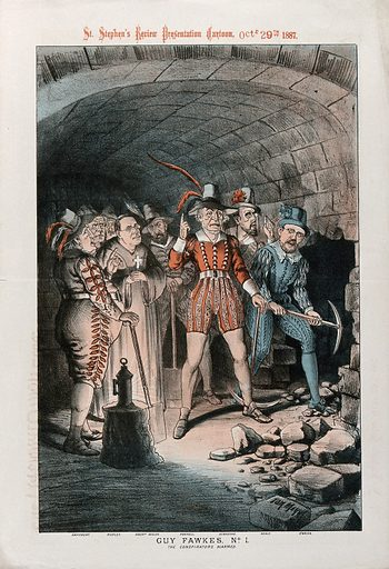 Victorian politicians sympathetic to Irish Home Rule in the guise of Guy Fawkes and his conspirators breaking into the undercroft of the House of Lords. Colour lithograph by Tom Merry, 1887. Created Oct.r 29th 1887 [29 October 1887. Gunpowder Plot (1605). William Sir Vernon Harcourt (1827–1904). John Morley (1838–1923). William J Walsh (1841–1921). Charles Stewart Parnell (1846–1891). W E Gladstone (1809–1898). T M Healy (1855–1931). William O'Brien (1852–1928). Contributors: Tom Merry (1852–1902). Work ID: snhcngcz.