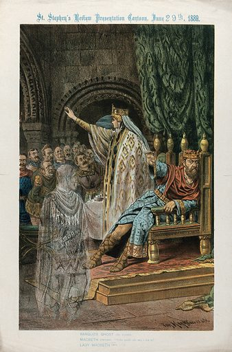 Parnell as Macbeth and Dr Cronin as Banquo's ghost. Lithograph by Tom Merry, 1889. Created June 29th 1889. Charles Stewart Parnell (1846–1891). Dr Cronin (active approximately 1889). Contributors: Tom Merry (1852–1902); William Shakespeare, 1564–1616. Macbeth. Work ID: ywmqfwgf.