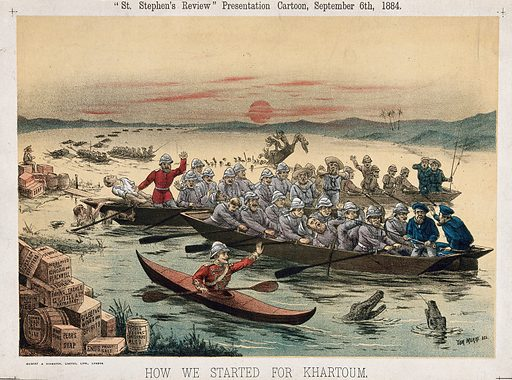 Men on barges heading towards Khartoum, Sudan. Lithograph by Tom Merry, 6 September 1884. Created 6 September 1884. Contributors: Tom Merry (1852–1902). Work ID: w4ztvnnc.