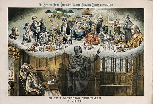 Gladstone, asleep in a chair next to a fire, has a nightmare vision of Disraeli showing Queen Victoria celebrating Christmas dinner with foreigners, including a Chinese man, an American Indian, an African man and an Indian man. Colour lithograph by Tom Merry, 25 December 1886. Created 25 December 1886. Dreams. Christmas. Plum puddings. Queen of Great Britain Victoria (1819–1901). W E Gladstone (1809–1898). Benjamin Disraeli (1804–1881). Contributors: Tom Merry (1852–1902). Work ID: fr9aqspv.