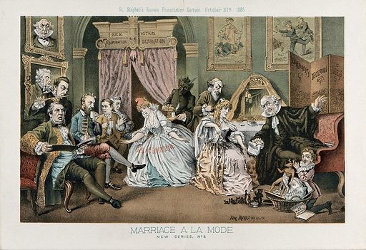 """Parody of the fourth scene of Hogarth's Marriage a la mode: the countess's dress is inscribed with """"radicalism"""" and the lawyer is pointing at a screen on which is written """"verbosity, deception, lies"""". Lithograph by Tom Merry, 31 October 1885. Created 31 October 1885. Contributors: Tom Merry (1852–1902). Work ID: zrx9g32q."""