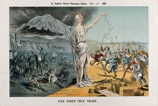 Free trade represented as a woman: half is a skeleton being cursed by unemployed workers; half is a beautiful young woman who is giving gold to importers of foreign goods. Lithograph by Tom Merry, 21 November 1886. Created 21 November 1885. Contributors: Tom Merry (1852–1902). Work ID: wguwrdct.