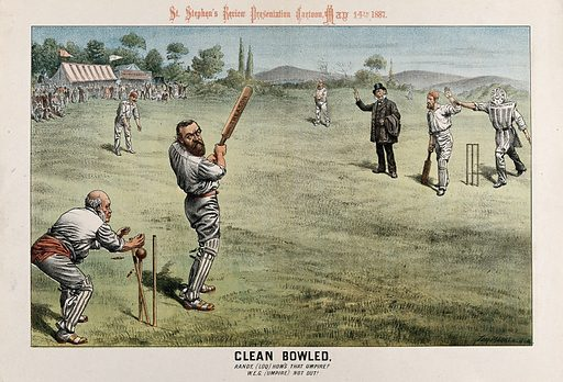 """British politicians playing cricket: Parnell, batting with a bat marked """"treason"""" is bowled by The times newspaper. Lithograph by Tom Merry, 14 May 1887. Referring to this matter: """"Early in 1887 the 'Times' newspaper charged Mr Parnell and his chief followers with conniving at the Phoenix Park and other outrages which had taken place in Ireland between 1880 and 1885; the House of Commons rejected a proposal to examine the charges as infringements of parliamentary privilege; and Mr Parnell declined the offer of the government to bring in his behalf a libel action against the newspaper. Carnarvon thereupon urged, in a letter to the 'Times' (9 May 1887), that a special commission should be appointed by parliament to determine the truth or falsehood of the accusations."""" (Dictionary of national biography, sv Herbert, Henry Howard, 4th Earl of Carnarvon) Lord Randolph Churchill, fielding at midwicket, appeals as the batsman is clean bowled by The times newspaper. Gladstone, as the umpire, gives him not out. The batsman at the non-striker's end (John Dillon?) is marked """"Tyranny"""". Created 14 May 1887. Charles Stewart Parnell (1846–1891). Randolph Henry Spencer Churchill, Lord (1849–1895). W E Gladstone (1809–1898). John Dillon (1851–1927). Contributors: Tom Merry (1852–1902). Work ID: tcyuphrr."""