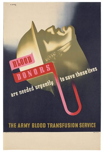 The head of a wounded soldier, tense with pain, and blood being transfused; representing the need for blood donors. Colour lithograph after A Games, 1942. Contributors: Abram Games. Work ID: vzqau8x4.