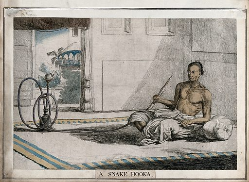 Interior with reclining man holding snake-like hookah, Calcutta, West Bengal. Coloured etching by François Balthazar Solvyns, 1799. Created 1799. Costume. India. Contributors: Balt. Solvyns (1760–1824). Work ID: bgqwq7jx.