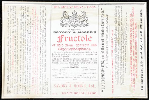 Pharmacy label Savory & Moores Fructole. Pharmacy label Savory and Moores Fructole of red bone marrow and glycerophosphates (chemical food). Work ID: ssrvbtek.