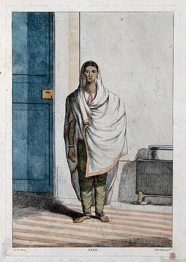 Ayah, or female attendant for European and Indian women, Calcutta, West Bengal. Coloured etching by Francois Balthazar Solvyns, ca 1808–1812. Contributors: Balt. Solvyns. Work ID: t5edz8r3.