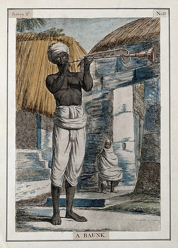 Man playing the baunk, a trumpet-like instrument, Calcutta, West Bengal. Coloured etching by Francois Balthazar Solvyns, 1799. Contributors: Balt. Solvyns. Work ID: rxc5xh4h.