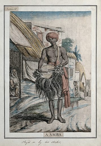 Musician with a nagra, a type of drum played with sticks, Calcutta, West Bengal. Coloured etching by Francois Balthazar Solvyns, 1799. Contributors: Balt. Solvyns. Work ID: mfe34c54.