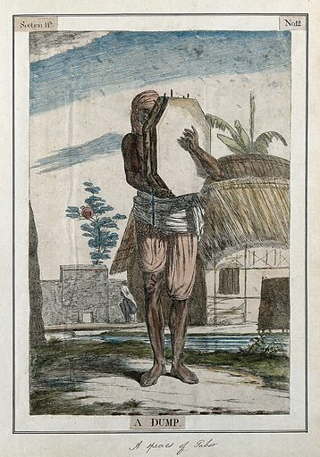 Musician playing the dump, a drum which is held vertically and struck with the fingers, Calcutta, West Bengal. Coloured etching by Francois Balthazar Solvyns, 1799. Contributors: Balt. Solvyns. Work ID: f7vh4w3t.