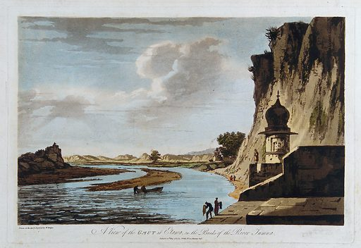"""Ghat near Etawah on the river Yamuna, Uttar Pradesh. Coloured etching by William Hodges, 1787. The term """"gaut"""" or ghat refers to steps, often flights of steps found at riverbanks, where ablutions are performed. Yamuna, the name of a goddess, is also another name for the Jumna river, a tributary of the Ganges. Created 20 May 1787. Boats and boating. Hindu shrines. Laundry. Rivers. India. Yamuna River (India). Contributors: William Hodges (1744–1797). Work ID: p8u64s7e."""
