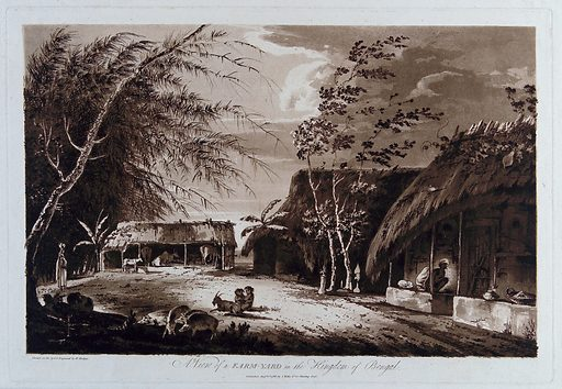 Farmyard, Bengal. Etching by William Hodges, 1786. Created 1 August 1786. Farm buildings. Thatched roofs. Infants. Cows. Goats. Swine. India. Contributors: William Hodges (1744–1797). Work ID: xrs5r8g9.