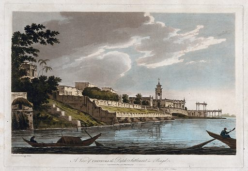 Dutch settlement at Chunchura on the Hugli river, West Bengal. Coloured etching by William Hodges, 1787. Chunchura was held by the Dutch from the 17th century until 1825. Created 20 June 1787. Trees. Colonial cities – India. Colonial. Architecture. Boats and boating – India. Contributors: William Hodges (1744–1797). Work ID: ffg6yvgm.