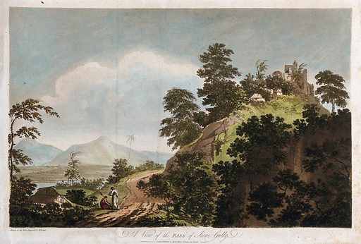 Landscape at Fatehpur Sikri, Uttar Pradesh. Coloured etching by William Hodges, 1788. Created 27 April 1788. Trees. Mountain passes – India. Contributors: William Hodges (1744–1797). Work ID: k8g23hxk.