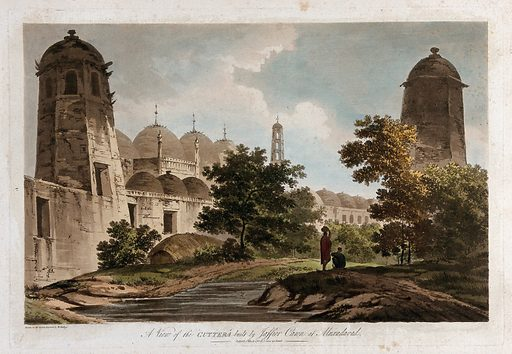 Buildings by the river at Muxadavad, India. Coloured etching by William Hodges, 1788. Created 1788. Trees. Mogul Empire – India. Architecture. Contributors: William Hodges (1744–1797). Work ID: k58h7bv4.