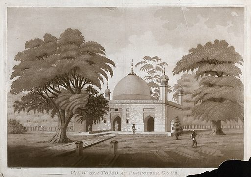 Tomb at Gaur, West Bengal. Etching by James Moffat after Henry Creighton, ca 1808. Early views in India, Mildred Archer, London 1980, note to no. 91. Gaur was the capital of Bengal under its ancient Hindu kings and after 1200 under Muslim rulers. Husain Shah ruled from 1493–1519. In 1575, an outbreak of plague caused the city to be abandoned. but an outbreak of plague in 1575 caused it to be abandoned. Mogul Empire. Architecture. Trees. Mausoleums – India. Contributors: Henry. Creighton; James Moffat (1775–1815). Work ID: yk5t4uhx.