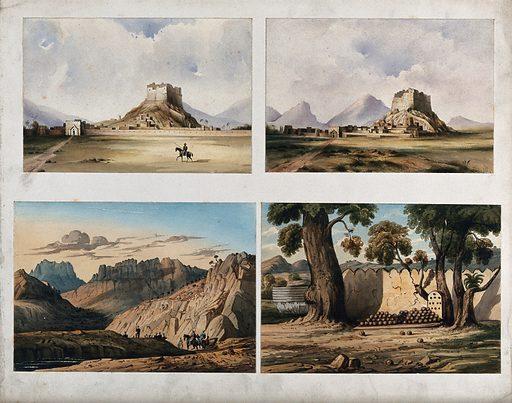 Walled city with lone horseman, Afghanistan. Watercolour. Afghan Wars. Work ID: s4k8mvcj.