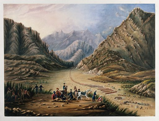 Cavalry drill in the mountains, Afghanistan. Watercolour. Afghan Wars. Cavalry – Afghanistan. Cavalry horses. Military history – Afghanistan. Military uniforms. Marching. Mountain passes – Afghanistan. Work ID: bt47g8nw.