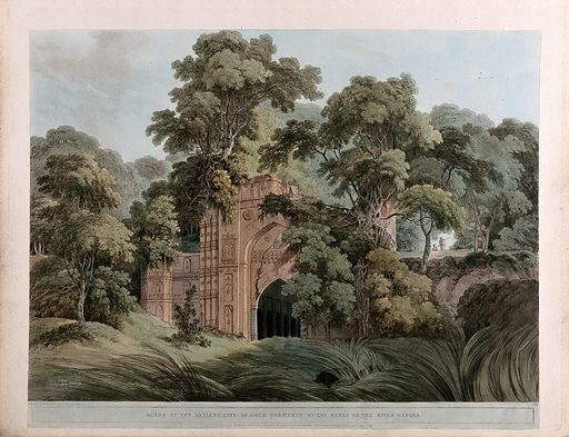 Ruins in the city of Gaur, West Bengal. Coloured aquatint by Thomas Daniell, 1795. Contributors: Thomas Daniell. Work ID: zasxjupx.