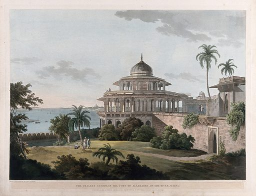 The Chalis Satun, or Hall of Forty Pillars, at Allahabad, Uttar Pradesh. Coloured aquatint by Thomas Daniell, 1795. The palace-fortress at Allahabad, at the junction of the Yamuna and Ganges rivers, was begun by emperor Akbar in 1583 and was the largest fort built by him. The Chalis Satun or Hall of Forty Pillars was built as a pleasure paviliion in the palace, situated high up beside the river so that cool breezes could circulate throughout. Such pavilions had no walls; water ran through channels in the building and fountains played around it. Archer op. cit. Created July 1795. Mogul Empire – India. Architecture. Pavilions – India. Ganges River (India and Bangladesh). Yamuna River (India). Thomas Daniell (1749–1840). Contributors: Thomas Daniell (1749–1840). Work ID: rh4cc9du.