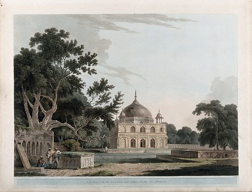 Tomb of Prince Khusrau, near Allahabad, Uttar Pradesh. Coloured aquatint by Thomas Daniell, 1796. The Khusrau Bagh, or garden, outside Allahabad was originally built by a pupil of the imperial architect Aqa Riza as pleasure resort for Prince Salim, Akbar's son, later the emperor Jahangir (ruled 1605–1627). After some time the Prince made it over to his son Khusrau, but when the latter rebelled against him in 1606 he imprisoned him there. Khusrau was eventually handed over to his stepbrother, later Shah Jahan; in 1622 he was murdered by a hired assassin and his body taken back to the Khusrau Bagh for burial. Archer op. cit. Created July 1796. Mausoleums – India. Mogul Empire. Architecture. Trees. Islamic gardens – India. Thomas Daniell (1749–1840). Contributors: Thomas Daniell (1749–1840). Work ID: ynte7ejs.