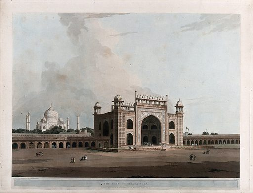 """Gateway to the Taj Mahal, Agra, Uttar Pradesh. Coloured aquatint by Thomas Daniell, 1796. Thomas Daniell was probably criticized for not showing the mausoleum in greater detail, with the result that in 1801 he produced two views of the Taj Mahal in a larger format, almost 3 feet (90cm) in width. These are not part of the series Oriental scenery, and are reproduced as nos. 28–29 in Archer op. cit. The Taj Mahal was raised by the Mughal emperor, Shah Jahan, as a mausoleum for his favourite wife, known as Mumtaz-i-Mahal, """"The Elect of the Palace"""", who died in 1629. Shah Jahan, it is said, planned a similar tomb for himself of black marble, across the river, but after his death he was interred beside her. Archer op. cit. Created July 1796. Trees. Islamic gardens – India. Mausoleums – India – Taj Mahal (Agra, India). Mogul Empire. Architecture. Gateways – India. Thomas Daniell (1749–1840). Contributors: Thomas Daniell (1749–1840). Work ID: vehqckpr."""