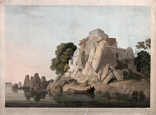 """Fakir's Rock on the river Ganges, near Sultanganj, Bihar: south west view. Coloured aquatint by Thomas and William Daniell, 1800. """"The Fakeer's rock … consists of several masses of grey rock granite, and was formerly a point of land projecting from the shore, but by the violence of the current is now perfectly insular."""" """"This assemblage of rocks has long been considered as one of the most sacred places on the River Ganges, and much resorted to by the religious Hindoos, not only for its reported sanctity, but on account of a much celebrated figure of Narayan [Brahma], over which is erected a building, probably, either to honour or preserve the idol."""" Thomas Daniell quoted in Archer op. cit. Created 15 April 1800. Hindu architecture. Hindu decoration and ornament. Relief (Sculpture), Hindu. Boats and boating – India. Worship (Hinduism). Ganges River (India and Bangladesh). Contributors: Thomas Daniell (1749–1840); William Daniell (1769–1837). Work ID: fb6fbvxn."""
