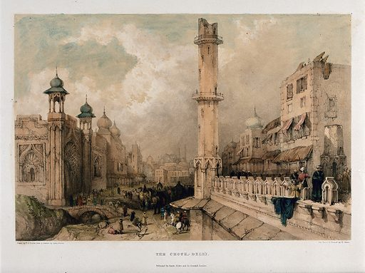 The Chandnee Chouk or market place, Delhi. Coloured lithograph by W Gauci after Thomas Colman Dibdin after Bacon, 1840. Created 1840. Islamic architecture. India. Contributors: Lieutenant. Bacon; T C Dibdin (1810–1893); W Gauci. Work ID: sbsax58k.