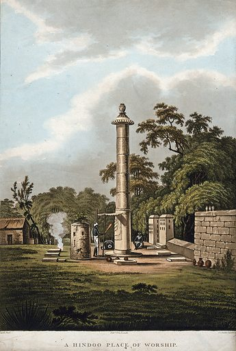 Worship at a Hindu shrine, India. Coloured aquatint by Edward Orme and Joseph Constantine Stadler after Thomas Daniell, 1804. Created 30 July 1804. Hindu architecture. Contributors: Thomas Daniell (1749–1840); William. Orme; Joseph Constantine. Stadler. Work ID: hqzq32jt.