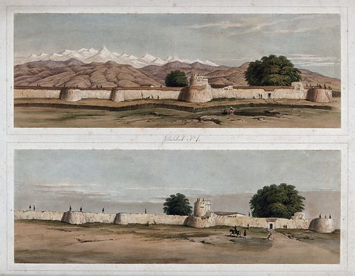 Earthquake damage to fortifications, with trees, Jalal-Kut, Afghanistan. Coloured lithographs by WL Walton, c 1850. Series shows the fortifications at Jalal-Kut, formerly Jalalabad, Afghanistan, during a siege when it was held under the command of Sir Robert Henry Sale (1782–1845). The damage to the fortifications caused by earthquakes on 19 February 1842 is also shown. Dictionary of National Biography, London 1909, vol 17, pp. 670–678. Earthquakes. Contributors: W L Walton. Work ID: frn7hghz.