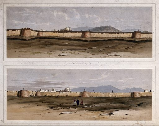 Earthquake damage to fortifications, with three figures in the foreground, Jalal-Kut, Afghanistan. Coloured lithographs by WL Walton, c 1850. Series shows the fortifications at Jalal-Kut, formerly Jalalabad, Afghanistan, during a siege when it was held under the command of Sir Robert Henry Sale [1782–1845]. The damage to the fortifications caused by earthquakes on 19 February 1842 is also shown. Dictionary of National Biography, London 1909, vol 17, pp. 670–678. Earthquakes. Contributors: W L Walton. Work ID: hda9zbu3.