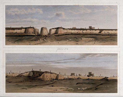 Earthquake damage to fortifications, Jalal-Kut, Afghanistan. Coloured lithographs by WL Walton, c 1850. Series shows the fortifications at Jalal-Kut, formerly Jalalabad, Afghanistan, during a siege when it was held under the command of Sir Robert Henry Sale [1782–1845]. The damage to the fortifications caused by earthquakes on 19 February 1842 is also shown. Dictionary of National Biography, London 1909, vol 17, pp. 670–678. Earthquakes. Contributors: W L Walton. Work ID: k7v57w9s.