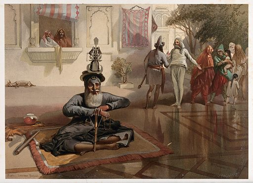 Seated holy man with figures, Amritsar, Punjab. Chromolithograph by William Simpson, 1864. Created 1864. Costume. India. Contributors: William Simpson (1823–1899). Work ID: ew6y83nb.