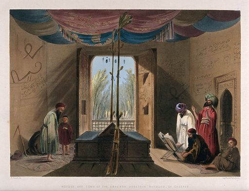 Worshippers at the Mosque of Emperor Sultan Mahmood, Ghazni, Afghanistan. Coloured lithograph by R Carrick after Lieutenant James Rattray, c 1847. Created 1847–1848. Islamic architecture. Tombs. Mosques. Costume. Contributors: James Rattray (1790–1862); Robert Carrick (active 1847). Work ID: sd378rc2.
