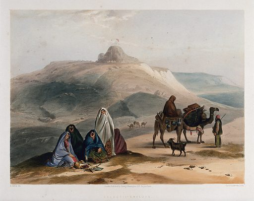 Landscape with veiled women and camels, Kalat-i-Ghilzai, Afghanistan. Coloured lithograph by R Carrick after Lieutenant James Rattray, c 1847. Created 1847–1848. Costume. Camels. Contributors: James Rattray (1790–1862); Robert Carrick (active 1847). Work ID: e3smuuy9.