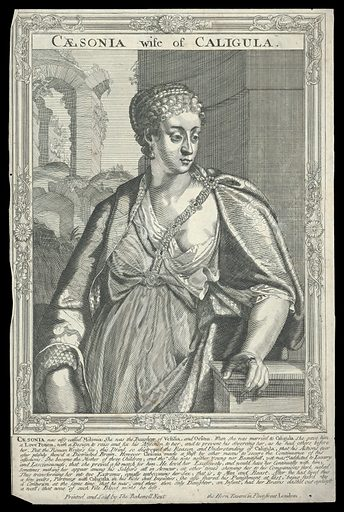 Milonia Caesonia, wife of Caligula, Emperor of Rome. Line engraving, 16 –, after A Sadeler. Half-length portrait, directed to front, head facing towards the left, leaning right arm on ledge, surrounded by an etched frame with swept centres and corners. Created between 1700 and 1799. Milonia Caesonia, Empress, consort of Caligula, Emperor of Rome (6–41). Contributors: Ægidius Sadeler (1568–1629). Work ID: h7ka77e2.