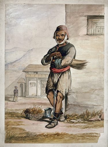 A man of Simla, standing in a prison with manacles around his ankles. Watercolour by R Clint, 1866. Created 1866. Men. Restraint of prisoners. Simla (India). India. Contributors: R Clint (active 1866). Work ID: s22wt62e.