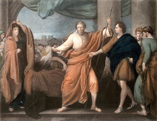 Aegisthus discovering the body of Clytaemnestra. Colour mezzotint by V Green, 1786, after B West, ca 1780. An episode in Sophocles' tragedy Electra. Centre, Aegisthus, uncovering the body of Clytaemnestra after her assassination by Orestes. Left, Electra; right, Orestes with two other people, one of them Pylades. Created 25 March 1786. Clytemnestra (Greek mythology). Parricide. Sophocles. Electra. Contributors: Benjamin West (1738–1820); Valentine Green (1739–1813). Work ID: g7y5vda7.
