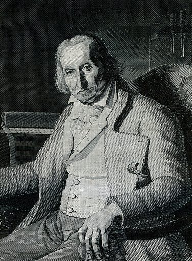 Joseph-Marie Jacquard, seated in an armchair. Weaving by Carquillat after Bruyas, ca 1810. Created 1810. Joseph-Marie Jacquard (1752–1834). Contributors: Bruyas.; Carquillat. Work ID: tur6z5tb.