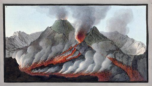 Interior view of the crater of Mount Vesuvius, 1756