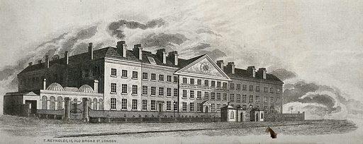 The London Hospital, Whitechapel: exterior. Engraving, 1850/1890. Created 1850/1890. London Hospital (Whitechapel, London, England). Work ID: xhqwfbnk.