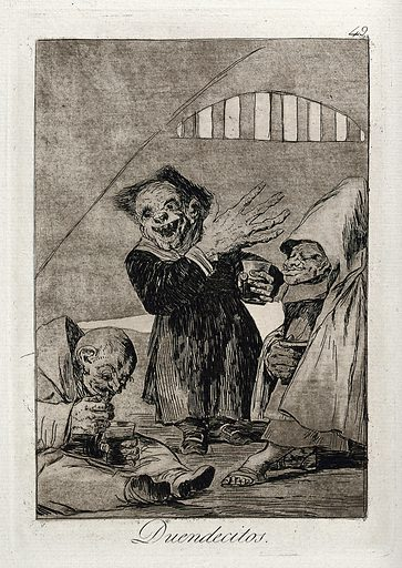 Three monstrous creatures wearing clerical robes. Engraving after F Goya, ca 1797. Created 1796/1798. Contributors: Francisco Goya (1746–1828). Work ID: mjk2vyud.